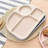 bvnmghjbmghj Weizen-Stroh-Faser-Teller-geteilter Speiseschüssel-Snack-Behälter-Frühstücks-Geschirr für Kinder-Küchen-Geschirr - Beige