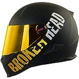 Broken Head BeProud Gold - Schlanker Motorradhelm Mit Goldenem Zusatz-Visier - Matt-Schwarz -...