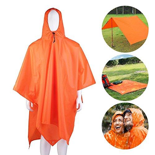 Limirror wasser- und winddicht Regenponcho, 3-in-1 Campingdecke zum Camping Wandern Outdoor Sport für Damen und Herren (Orange) (Slicker Regenmantel Regen)