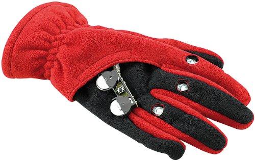 infactory Paar LED-Handschuhe: Kuschelige Fleece-Handschuhe mit LED-Beleuchtung, rot, Gr. S/M (Handschuhe als Fahrradbeleuchtung)