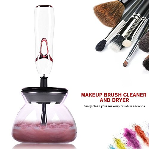 Makeup Brush Cleaner, Professional Makeup Brush Cleaner and Dryer Machine, ELOKI Cleans and Dries All Makeup Brushes in Seconds (White)