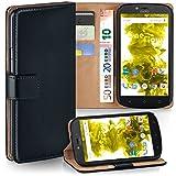 moex Motorola Moto C   Hülle Schwarz mit Karten-Fach 360° Book Klapp-Hülle Handytasche Kunst-Leder Handyhülle für Motorola Moto C Case Flip Cover Schutzhülle Tasche