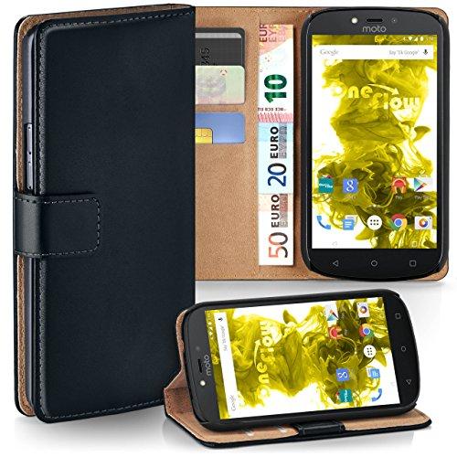 Motorola Moto C Plus Hülle Schwarz mit Karten-Fach [OneFlow 360° Book Klapp-Hülle] Handytasche Kunst-Leder Handyhülle für Motorola Moto C Plus Case Flip Cover Schutzhülle Tasche