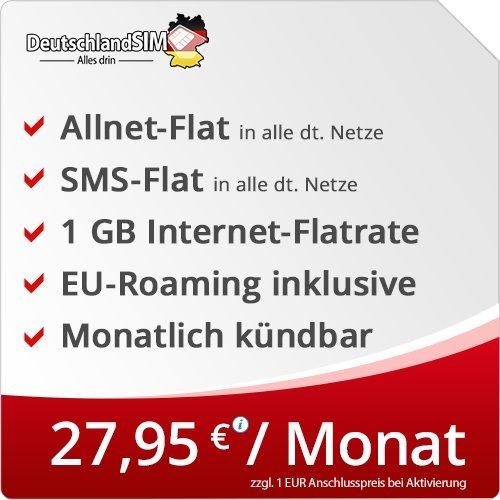 DeutschlandSIM Flat M [SIM, Micro-SIM und Nano-SIM] monatlich kündbar (1GB Internet-Flat, Telefonie-Flat, SMS-Flat, EU-Roaming inklusive, 27,95 Euro/Monat) Vodafone-Netz