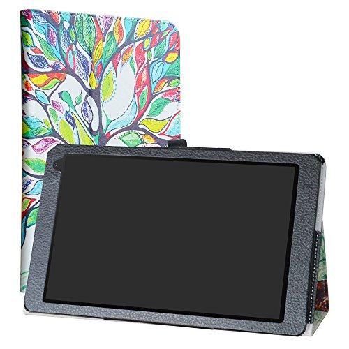 """LiuShan Medion Lifetab P106 X106 hülle, Folding PU Leder Tasche Hülle Case mit Ständer für 10.1"""" Medion Lifetab P10606 P10605 P10602 P10601 X10605 X10607 Android Tablet,Love Tree"""