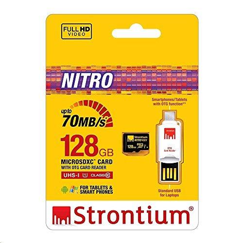 Strontium NITRO UHS-1 128GB 466X 70MB/s Micro SD Card with OTG Card Reader SRN128GTFU1T