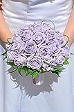 Elegante color lila Artificial ramo de la boda/despedida con cristales y junquillo