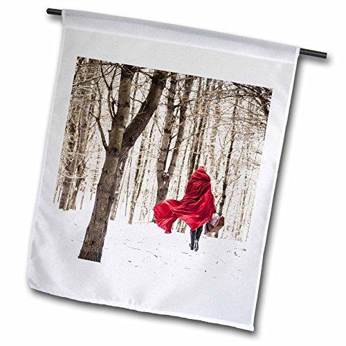 3dRose FL_266461_2 Rotkäppchen Märchen Schnee Wald Wintertag Foto Gartenflagge 45,7 x 68 weiß