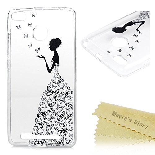 Xiaomi Redmi 3 Pro / Redmi 3S Funda Silicona Gel TPU Ultra Delgado Transparente - Mavis's Diary Carcasa Case Bumper Shock-Absorción y Anti-Arañazos - mariposa y una