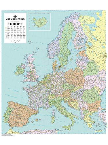 Mapa político de Europa para pared laminado