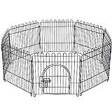Yahee Welpenauslauf Freigehege Laufgitter Welpenzaun 61×61cm für Kleintiere 8 Teile