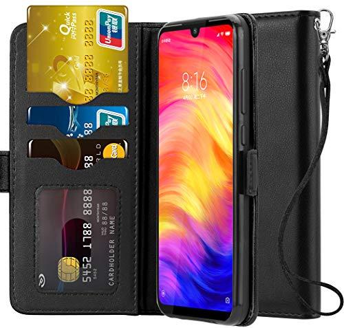 Ferilinso Hülle Kompatibel mit Xiaomi Redmi Note 7/ Note 7S/ Note 7 Pro, Elegantes Echtes Leder mit ID Kreditkarten-Slots Halter Flip Cover Stand Magnetic Closure Case (Schwarz) -