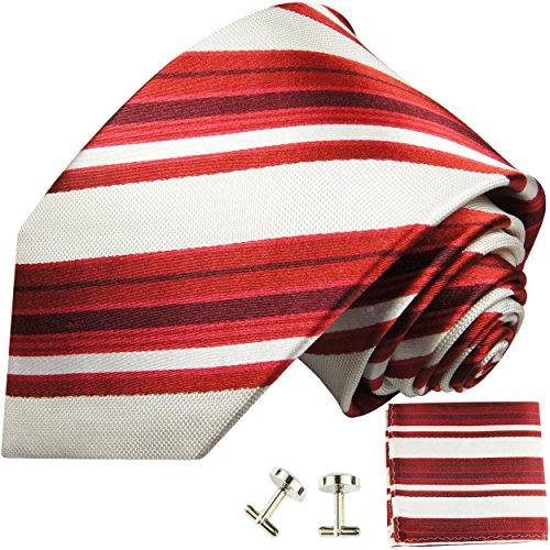 Rouge blanc rayé ensemble de cravate 3 Pièces ( 100% Soie Cravate + Mouchoir + Boutons de manchette )