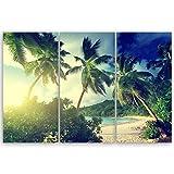 ge Bildet Hochwertiges Leinwandbild XXL - Sonnenuntergang am Strand Takamaka, Mahé - Seychellen - 120 x 80 cm mehrteilig (3 teilig)| Wanddeko Wandbild Wandbilder Wohnzimmer deko Bild |