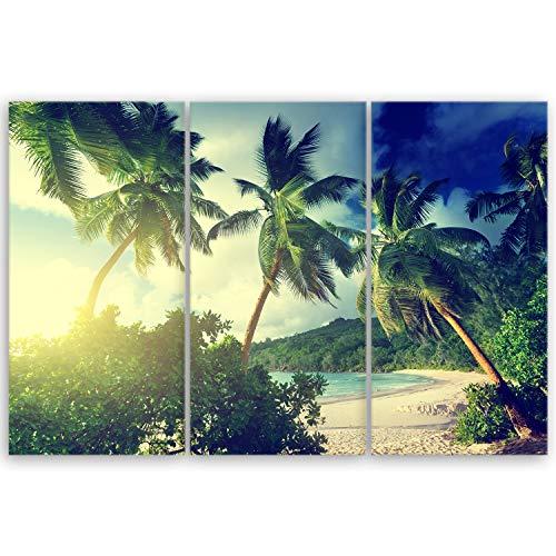 ge Bildet® hochwertiges Leinwandbild XXL - Sonnenuntergang am Strand Takamaka, Mahé - Seychellen - 120 x 80 cm mehrteilig (3 teilig) 2214 F