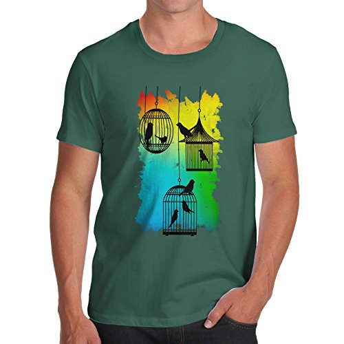Herren Rainbow Bird Cages T-Shirt Flaschengrün