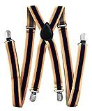 axy® Hochwertige Herren Hosenträger breit 2,5 cm mit 4 Starken Clips X-Form und Damen (Streifen Nr.6)