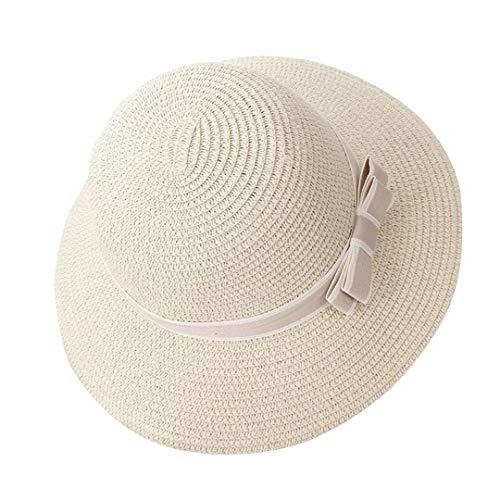 Flying Rabbit Damen Sonnenhüte Faltbarer Strohhut mit Sonnenschutz Breite Krempe (Damen Weißen Hut)