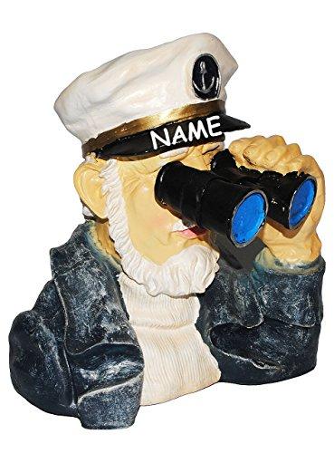 ' Spanner am Gartenzaun ' - Kapitän / Seefahrer mit Fernglas - incl. Name - große XL Figur - aus...
