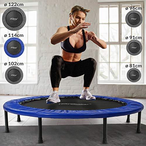 Physionics Mini trampolín en Varias tamaños - Peso máximo: 100 kg - Fitness Trampoline, Trampolín Elástico para jardín y Uso doméstico, Cama Elástica