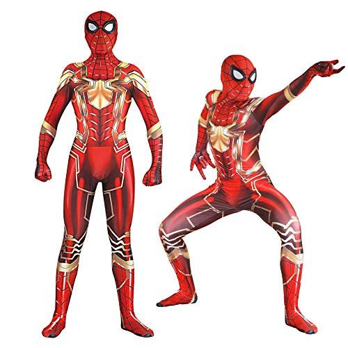 MAKAFJ Stahl Version Spiderman Cosplay kostüm siamesische Strumpfhosen Film Anime Dress up Maskerade Urlaub Party Service,Headgear Separation- ()
