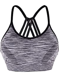 3dbb21dc8b Women s Sports Bra Mid Impact Yoga Bra Padded Running Jogging Exercise  Fitness Blockout Vest Gymwear Crop