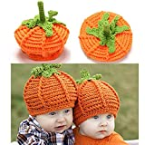 Gaddrt Newborn Baby Cute Pumpkin Cap, Knit Hat Halloween Costume Photography Prop Orange