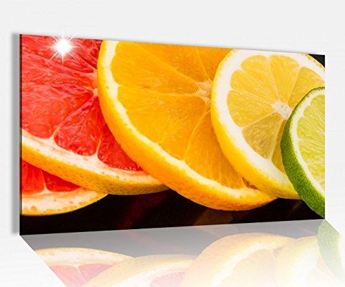 Acrylglasbild 80x50cm Orange Obst Scheiben Frucht Küche Zitrone Glasbild Bilder Acrylglas Acrylglasbilder 14A3472, Acrylglas Größe4:80cmx50cm