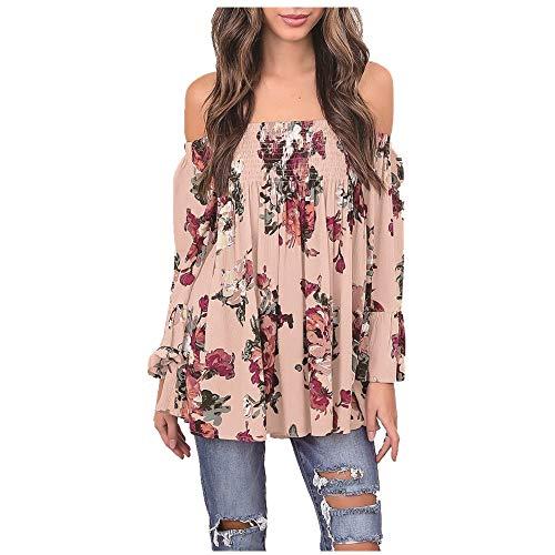 HOOUDO Crop Top Femme,Sexy Mode Femmes Imprimé Floral Tops Off éPaule Flare Sleeve Shirt Blouse Blouse Rose Blanche Orange 2XL