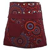 PUREWONDER süßer Wickelrock für Damen, 100% Baumwolle, Verstellbare Größe, Rock mit Tasche, Design Nr. 178 Rot