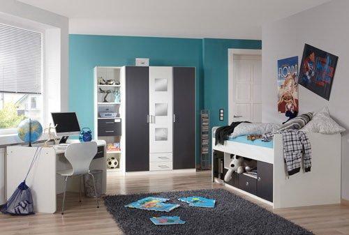 Jugendzimmer 3-tlg. in Weiß mit Absetzungen in Anthrazit, Kleiderschrank B: ca. 135 cm, Bett 90 x 200 cm Liegefläche, Schreibtisch B: ca. 125 cm