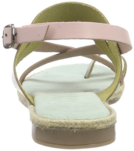 Xyxyx Sandale, Sandales Bout Ouvert Femme Vert - Grün (olive/pink)