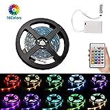 1m RGB LED Streifenlichter Batteriebetriebene, flexible, wasserdichte RGB-LED-Streifenlichter Seillichter Farbwechselstreifenlichter mit Batterie-Stromversorgungsbox und 24 Tasten-Fernbedienung