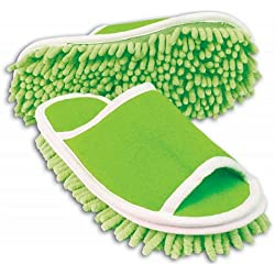 Evriholder Slipper Genie Microfiber Green Cleaning Dusting Mopping Shoes Fits Womens Size 6 to 9
