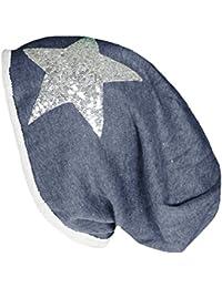 Mevina Beanie Pailletten Stern Long Beanie Mütze aus Baumwolle Pailletten Applikation Long Slouch in vielen Farben