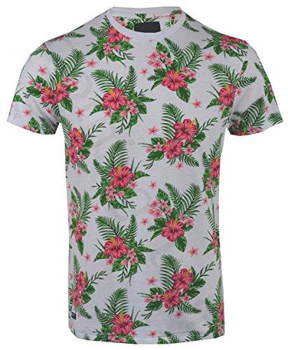 Threadbare Herren T-Shirt, Geblümt White Tiki