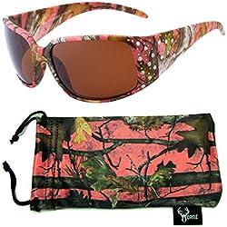 Hornz camuflaje del rosa polarizados gafas de sol de la muchacha del país del estilo del Rhinestone acentos y que coinciden con bolsa de microfibra – Marco rosado de Camo - ámbar lente