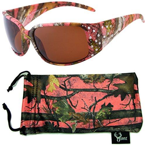 Hornz Rosa Camouflage polarisierten Sonnenbrillen Country Girl Style Strass Akzente & freie passende Beutel aus Mikrofaser - Rosa Camo Rahmen - Bernstein Objektiv