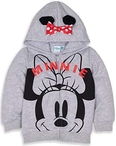 Disney Mickey oder Minnie Maus Kapuzenpullover für Jungen und Mädchen, Fleece, warm, mit Ohren und großem Gesicht, 3 Monate - 24 Monate Gr. 3-6 Monate (Hersteller Größe:6 Monate), Minnie Mouse - Grey