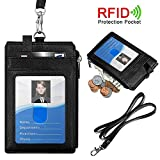 #1: ELV PU Leather ID Badge Card Holder Wallet with 5 Card Slots, 1 Side RFID Blocking Zipper Pocket and 20
