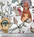 Soimoi Weiß Moos Georgette Stoff Bär & Kaninchen Kinder