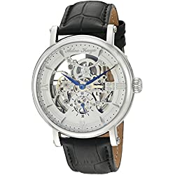 Adee Kaye Men's 'Mecha Collection' Stainless Steel and Leather Automatic Watch, Color:Black (Model: AK8895-MSV)