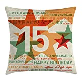 Best 8 Gifts year old girl - KLYDH 15th Birthday Decorations Throw Pillow Cushion Cover Review