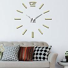 vangold moderno 3d espejo acrílico metal sin marco pegatinas de pared, tamaño grande relojes estilo relojes horas bricolaje habitación casa decoraciones