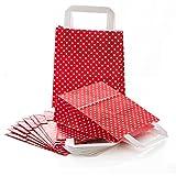 25 kleine rot weiß gepunktet Papiertüte Papiertasche Geschenktüte 18 x 8 x 22 cm Geschenkbeutel Verpackung Geschenk Mitgebsel give-away Geschenksäckchen Papier-Beutel