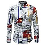 Binggong Herren Shirt, hübsche Jugend Nicht-Headstream-Männer Wilde Sommer-Mode-dünnes zufälliges Geschäft Fantasie-Druck-Mode-Tendenz-Lange Hülsen-T-Shirt grundlegend