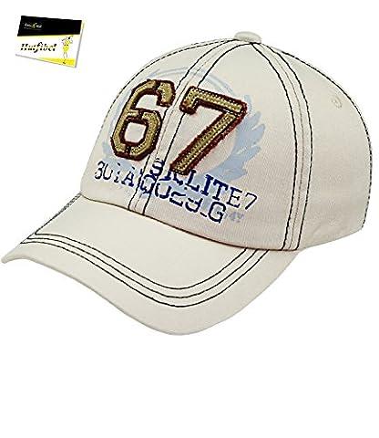 Fiebig Baseball Cap Basecap Kappe Herren Cap Mütze Streetwear größenverstellbar mit Aufnäher und Aufdruck für Männer (FI-59579-S16-HE2-4-58) in beige, Größe 58 inkl. EveryHead-Hutfibel