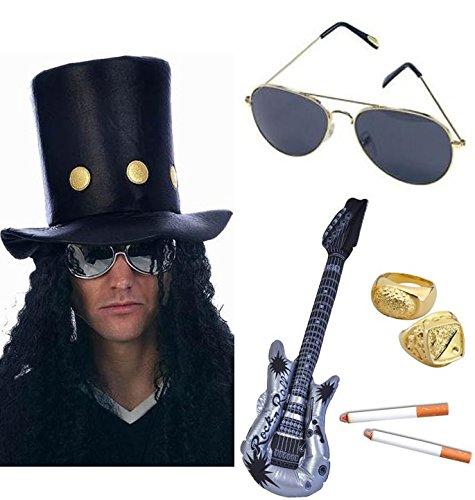 Slash Heavy Metal Rocker Hut mit Perücke, Gitarre, Sonnenbrille, Zigaretten und 2Ringe Fancy (Hut Fancy Kleid)