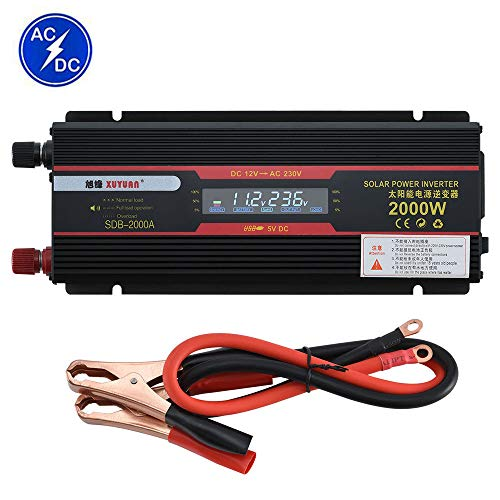 HPDOW 800W(Spitze 2000W) Reiner Sinus Wechselrichter, 12V/24V auf 110V/230V KFZ Spannungswandler Power Inverter mit USB Anschlüsse Zigarettenanzünder Anschlüssen,24V-220V