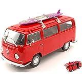 WELLY WE4722R VW T2 BUS W/SURFBOARD 1972 RED 1:24 MODELLINO DIE CAST MODEL
